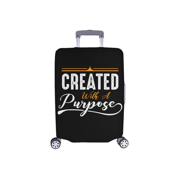Created With A Purpose Christian Travel Luggage Cover Suitcase Protector-S-Black-JoyHip.Com