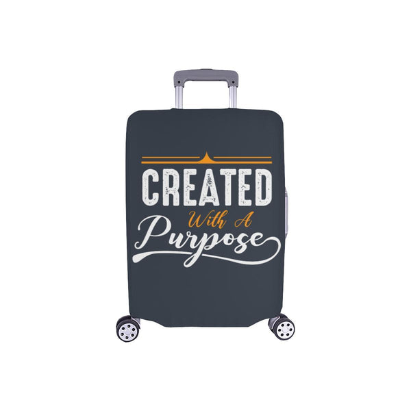 Created With A Purpose Christian Travel Luggage Cover Suitcase Protector-S-Grey-JoyHip.Com