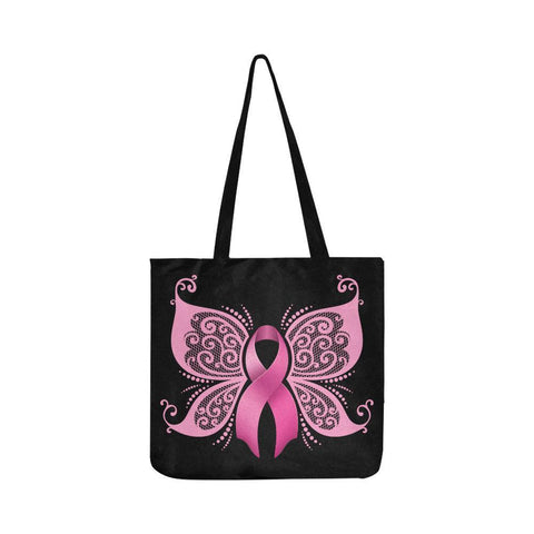 Cute Elegant Butterfly Pink Ribbon Breast Cancer Awareness Reusable Produce Bags-One Size-Black-JoyHip.Com