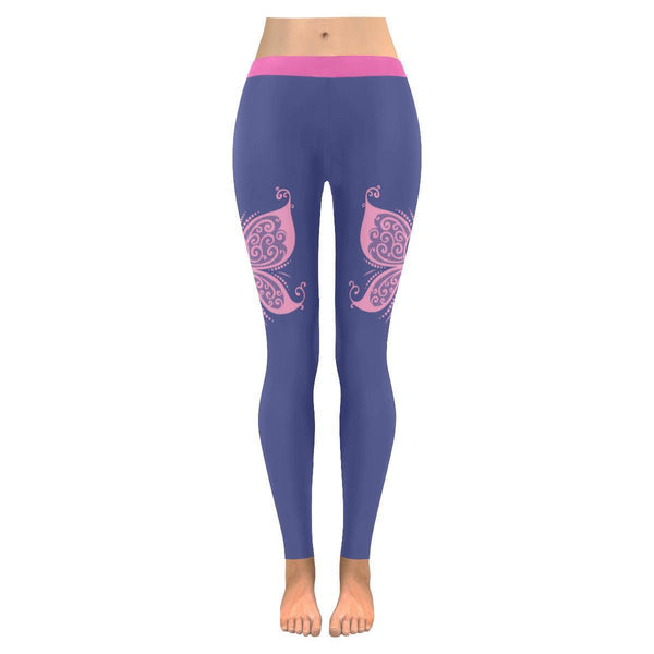 Cute Elegant Butterfly Pink Ribbon Breast Cancer Awareness UPF40 Womens Leggings-JoyHip.Com