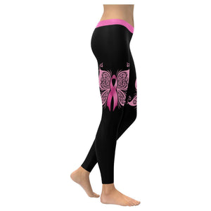 Cute Elegant Butterfly Pink Ribbon Breast Cancer Awareness UPF40 Womens Leggings-XXS-Black-JoyHip.Com