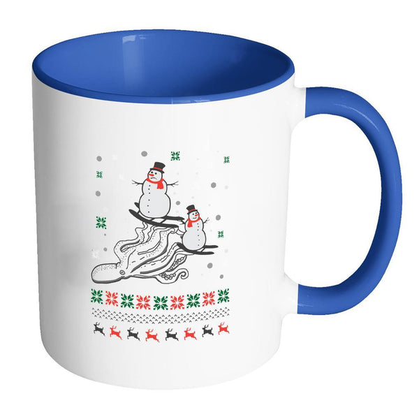 Cute Octopus Snowman Skiing Funny Ugly Christmas Holiday Sweater 11oz Accent Coffee Mug (7 Colors)-Drinkware-Accent Mug - Blue-JoyHip.Com