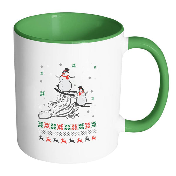 Cute Octopus Snowman Skiing Funny Ugly Christmas Holiday Sweater 11oz Accent Coffee Mug (7 Colors)-Drinkware-Accent Mug - Green-JoyHip.Com