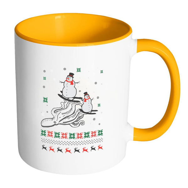 Cute Octopus Snowman Skiing Funny Ugly Christmas Holiday Sweater 11oz Accent Coffee Mug (7 Colors)-Drinkware-Accent Mug - Orange-JoyHip.Com