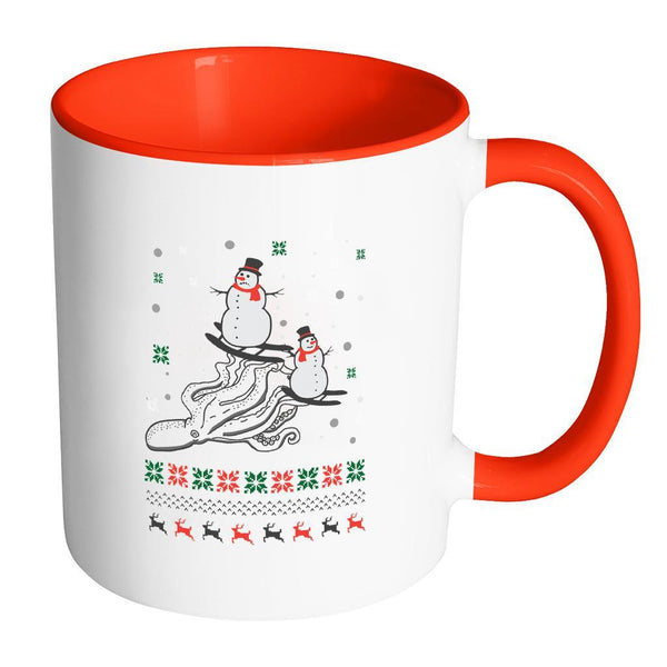 Cute Octopus Snowman Skiing Funny Ugly Christmas Holiday Sweater 11oz Accent Coffee Mug (7 Colors)-Drinkware-Accent Mug - Red-JoyHip.Com