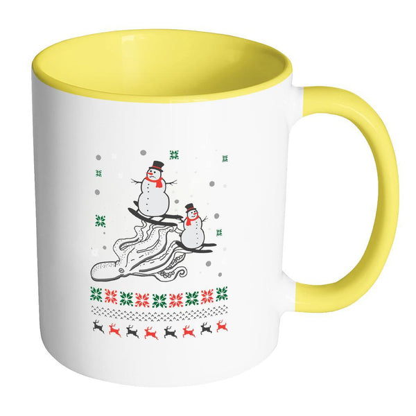 Cute Octopus Snowman Skiing Funny Ugly Christmas Holiday Sweater 11oz Accent Coffee Mug (7 Colors)-Drinkware-Accent Mug - Yellow-JoyHip.Com