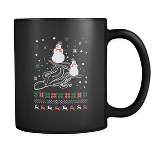 Cute Octopus Snowman Skiing Funny Ugly Christmas Holiday Sweater Black 11oz Coffee Mug-Drinkware-Ugly Christmas Sweater Black 11oz Coffee Mug-JoyHip.Com
