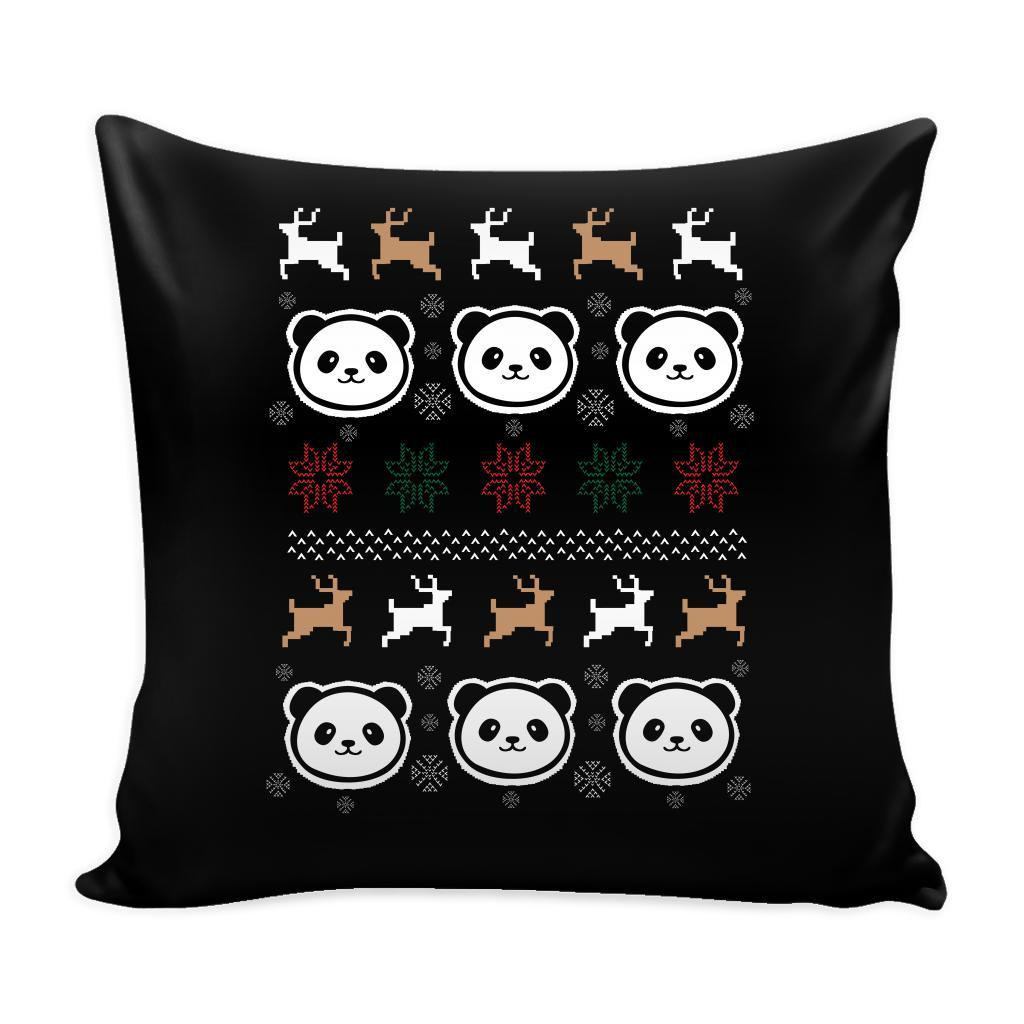 Cute Panda Funny Festive Ugly Christmas Holiday Sweater Decorative Throw Pillow Cases Cover(4 Colors)-Pillows-Black-JoyHip.Com