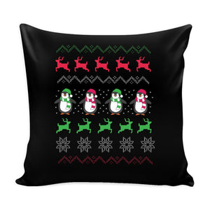 Cute Penguin Ugly Christmas Funny Festive Ugly Christmas Holiday Sweater Decorative Throw Pillow Cases Cover(4 Colors)-Pillows-Black-JoyHip.Com