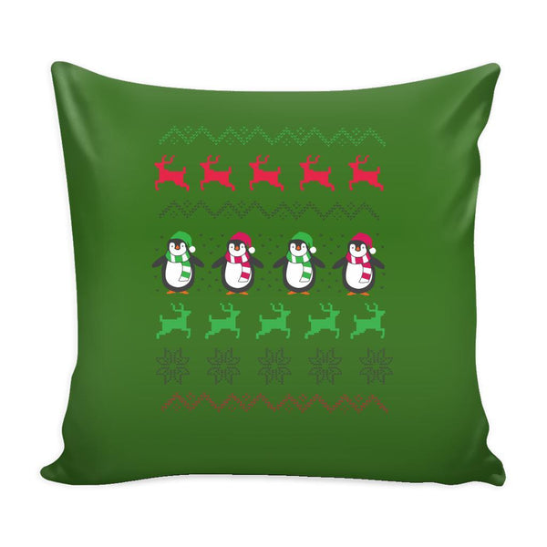 Cute Penguin Ugly Christmas Funny Festive Ugly Christmas Holiday Sweater Decorative Throw Pillow Cases Cover(4 Colors)-Pillows-Green-JoyHip.Com