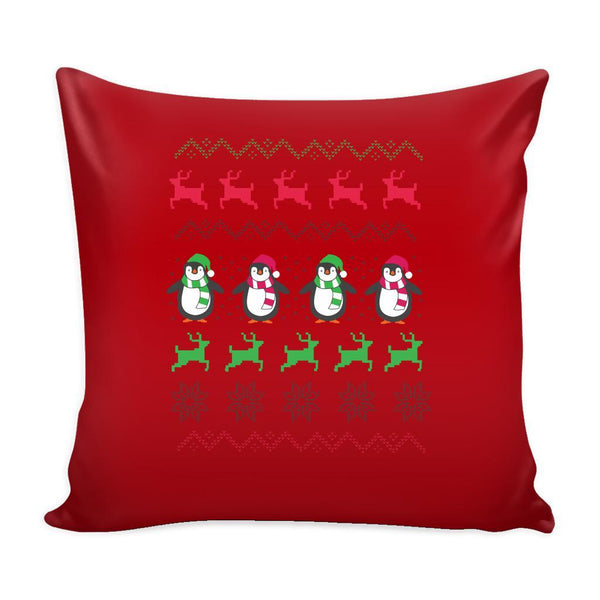 Cute Penguin Ugly Christmas Funny Festive Ugly Christmas Holiday Sweater Decorative Throw Pillow Cases Cover(4 Colors)-Pillows-Red-JoyHip.Com