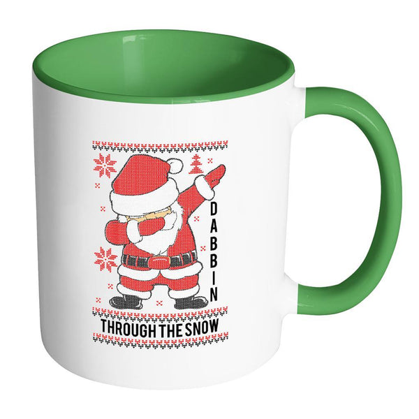 Cute Santa Dabbin Through The Snow Funny Ugly Christmas Sweater 11oz Accent Coffee Mug (7 Colors)-Drinkware-Accent Mug - Green-JoyHip.Com