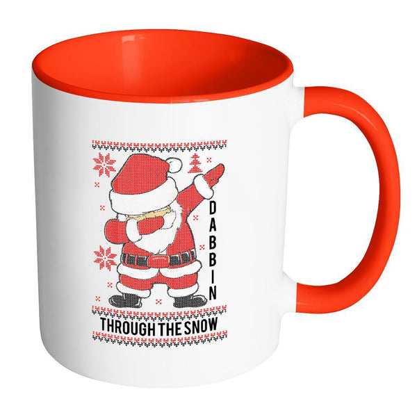 Cute Santa Dabbin Through The Snow Funny Ugly Christmas Sweater 11oz Accent Coffee Mug (7 Colors)-Drinkware-Accent Mug - Red-JoyHip.Com