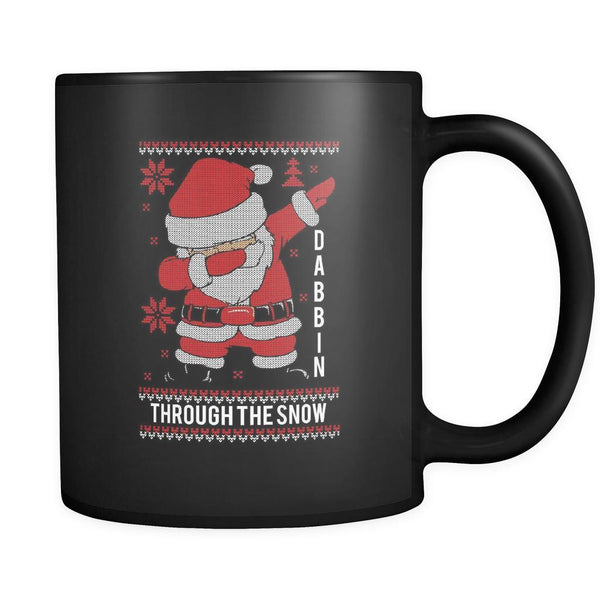 Cute Santa Dabbin Through The Snow Funny Ugly Christmas Sweater Black 11oz Coffee Mug-Drinkware-Ugly Christmas Sweater Black 11oz Coffee Mug-JoyHip.Com