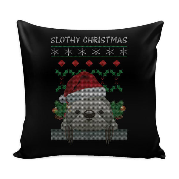 Cute Slothy Christmas Funny Festive Funny Ugly Christmas Holiday Sweater Decorative Throw Pillow Cases Cover(4 Colors)-Pillows-Black-JoyHip.Com