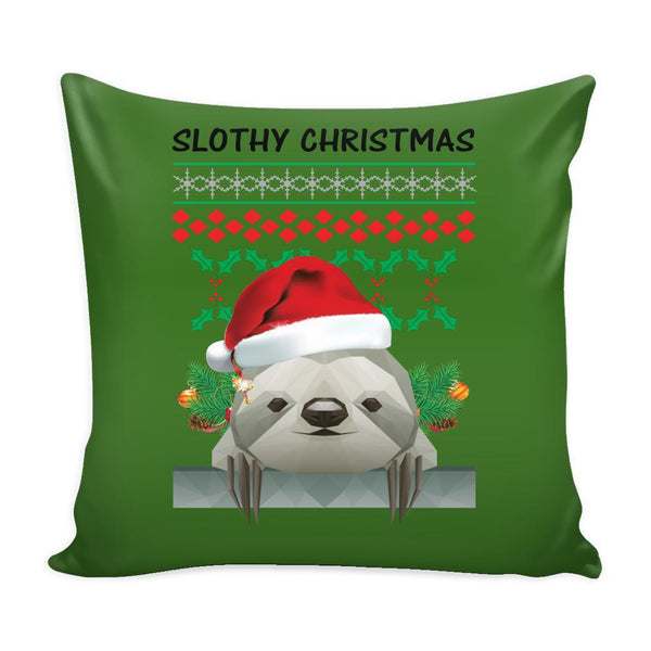 Cute Slothy Christmas Funny Festive Funny Ugly Christmas Holiday Sweater Decorative Throw Pillow Cases Cover(4 Colors)-Pillows-Green-JoyHip.Com