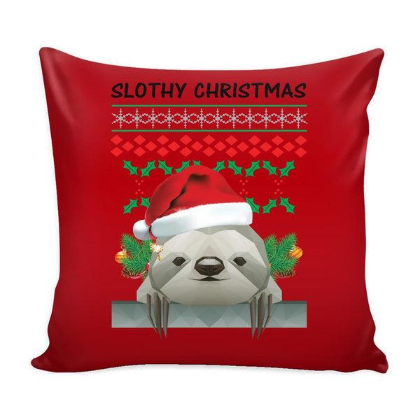 Cute Slothy Christmas Funny Festive Funny Ugly Christmas Holiday Sweater Decorative Throw Pillow Cases Cover(4 Colors)-Pillows-Red-JoyHip.Com