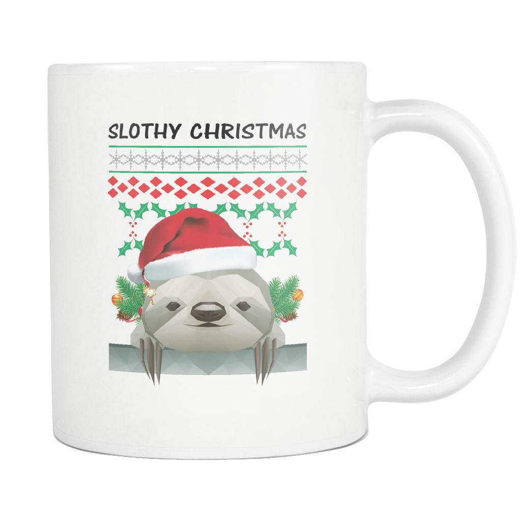 Cute Slothy Christmas Funny Ugly Christmas Sweater White 11oz Coffee Mug-Drinkware-Ugly Christmas Sweater White 11oz Coffee Mug-JoyHip.Com