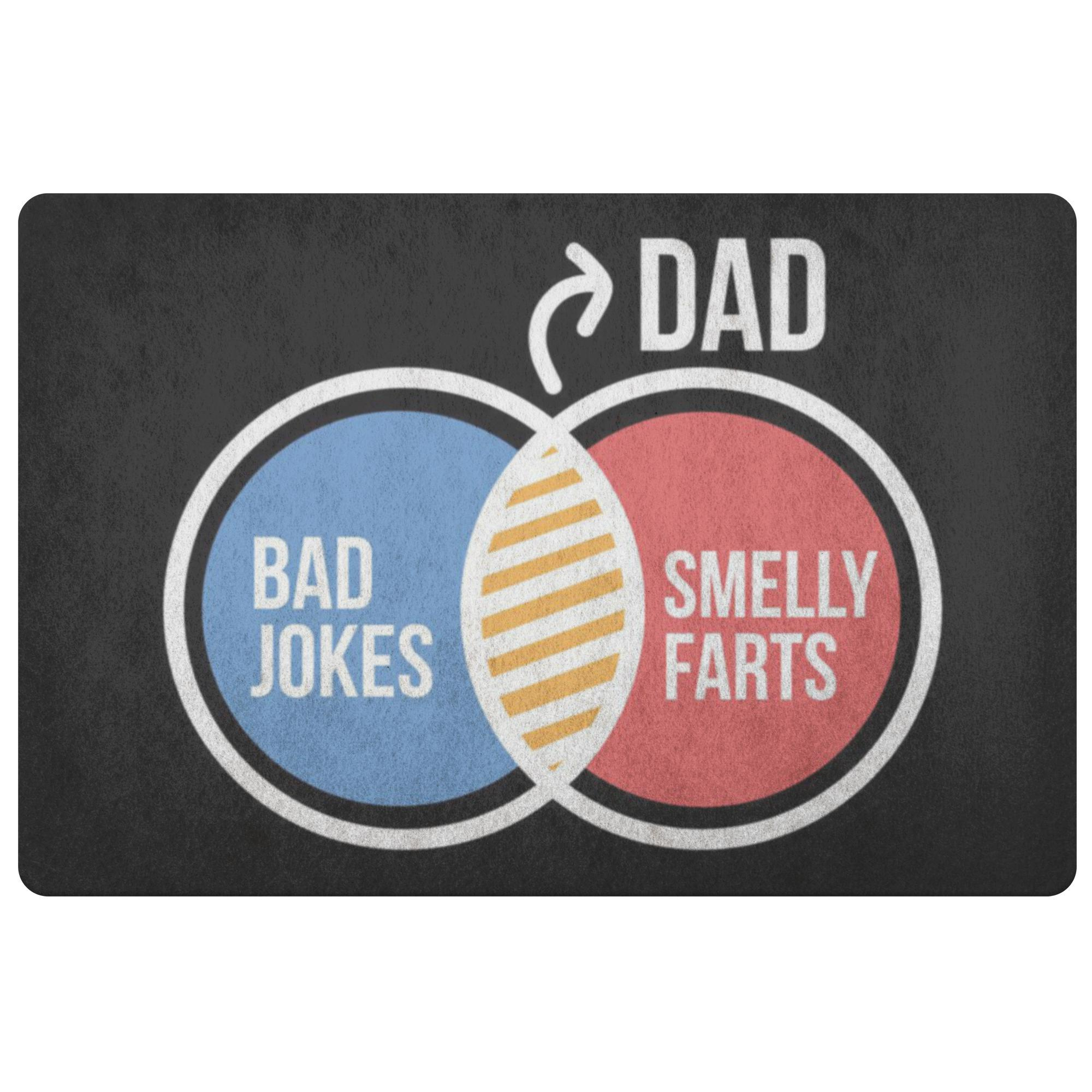 Dad Bad Jokes Smelly Farts 18X26 Front Door Mat Funny New Dad Gifts Ideas Father-Doormat-Black-JoyHip.Com
