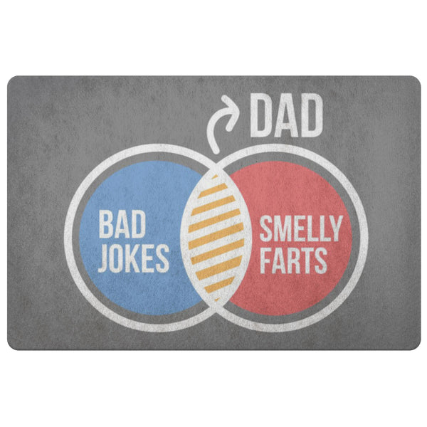 Dad Bad Jokes Smelly Farts 18X26 Front Door Mat Funny New Dad Gifts Ideas Father-Doormat-Grey-JoyHip.Com