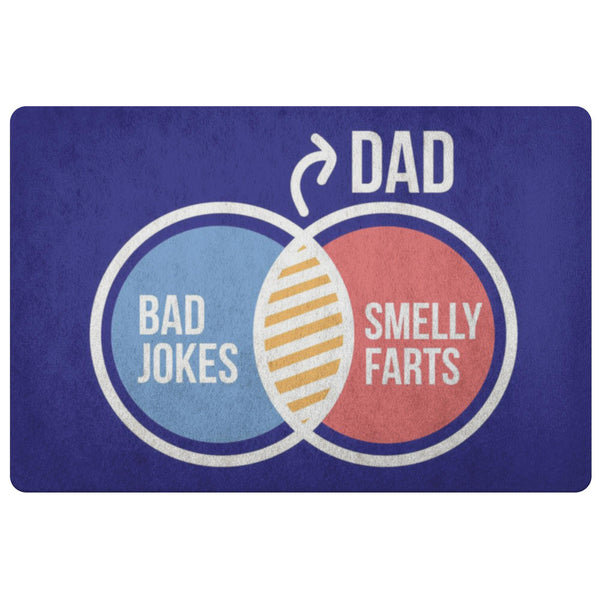 Dad Bad Jokes Smelly Farts 18X26 Front Door Mat Funny New Dad Gifts Ideas Father-Doormat-Navy-JoyHip.Com