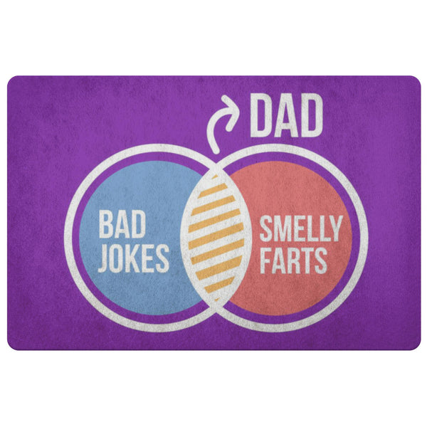 Dad Bad Jokes Smelly Farts 18X26 Front Door Mat Funny New Dad Gifts Ideas Father-Doormat-Purple-JoyHip.Com