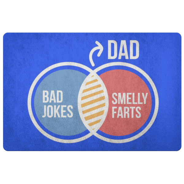 Dad Bad Jokes Smelly Farts 18X26 Front Door Mat Funny New Dad Gifts Ideas Father-Doormat-Royal Blue-JoyHip.Com