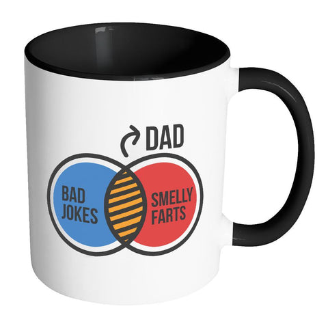 Dad Bad Jokes Smelly Farts Awesome Cool Funny Father Gift 11oz 7Color Mug-Drinkware-Accent Mug - Black-JoyHip.Com