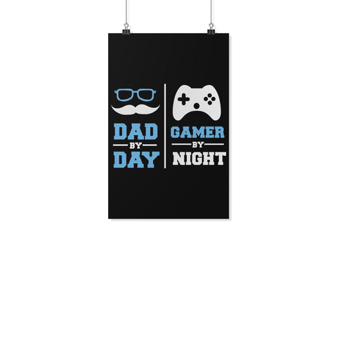 Dad By Day Gamer By Night Funny Gifts For Men Poster Wall Art Decor Gift Ideas-Posters 2-11x17-JoyHip.Com