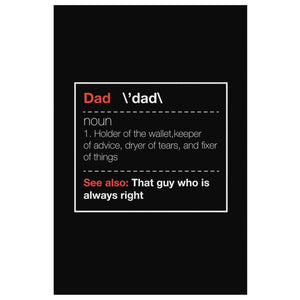 Dad Noun Wallet Keeper Fixer Of Things Always Right Funny Gifts For Men Canvas-Canvas Wall Art 2-8 x 12-JoyHip.Com