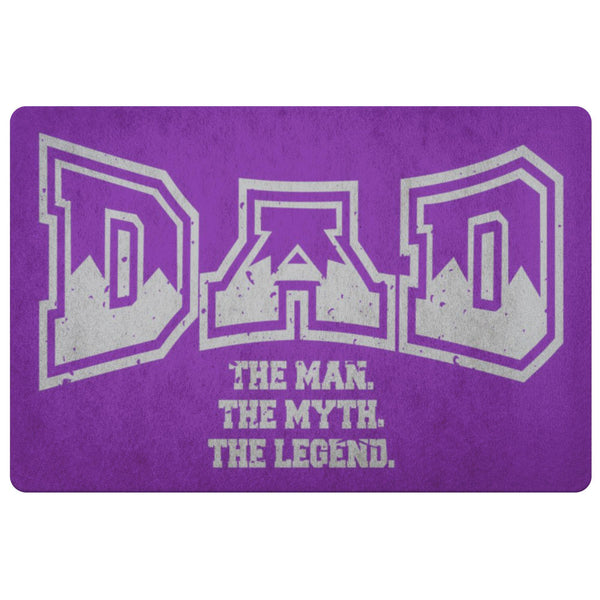 Dad The Man The Myth The Legend 18X26 Front Door Mat Funny New Dad Gifts Ideas-Doormat-Purple-JoyHip.Com