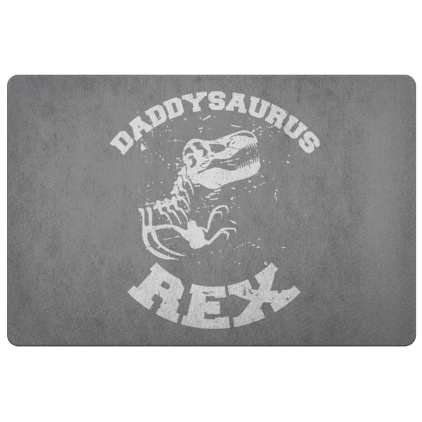 Daddysaurus T-Rex 18X26 Front Door Mat Funny New Dad Gifts Ideas 1st Fathers Day-Doormat-Grey-JoyHip.Com