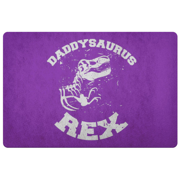 Daddysaurus T-Rex 18X26 Front Door Mat Funny New Dad Gifts Ideas 1st Fathers Day-Doormat-Purple-JoyHip.Com