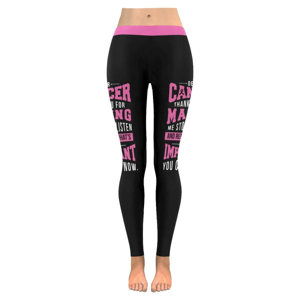 Dear Cancer Thank You Can Go Now Breast Cancer Pink Ribbon Womens Leggings-JoyHip.Com