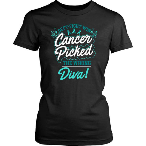 Defy Fight Win Cancer Picked The Wrong Diva Ovarian Cancer Lady TShirt-T-shirt-District Womens Shirt-Black-JoyHip.Com