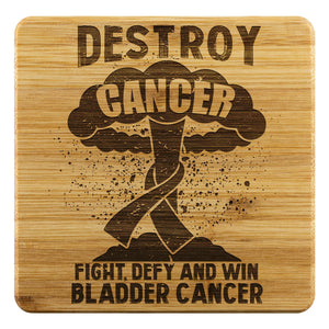 Destroy Cancer Fight Defy And Win Bladder Cancer Drink Coasters Set Gifts Idea-Coasters-Bamboo Coaster - 4pc-JoyHip.Com