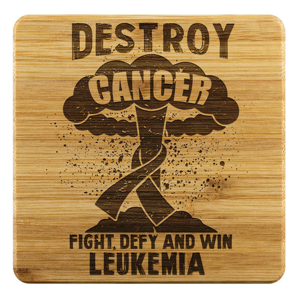 Destroy Cancer Fight Defy And Win Leukemia Cancer Drink Coasters Set Gifts Idea-Coasters-Bamboo Coaster - 4pc-JoyHip.Com