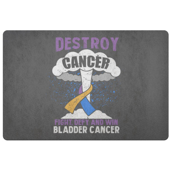 Destroy Cancer Fight Defy Win Bladder Cancer Awareness 18X26 Thin Indoor DoorMat-Doormat-Grey-JoyHip.Com