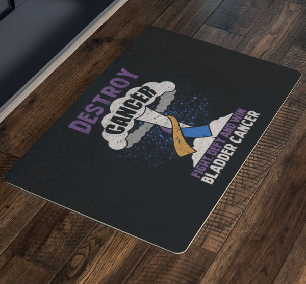 Destroy Cancer Fight Defy Win Bladder Cancer Awareness 18X26 Thin Indoor DoorMat-Doormat-JoyHip.Com