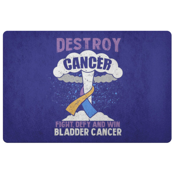 Destroy Cancer Fight Defy Win Bladder Cancer Awareness 18X26 Thin Indoor DoorMat-Doormat-Navy-JoyHip.Com