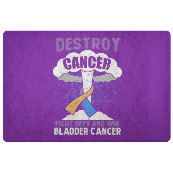 Destroy Cancer Fight Defy Win Bladder Cancer Awareness 18X26 Thin Indoor DoorMat-Doormat-Purple-JoyHip.Com
