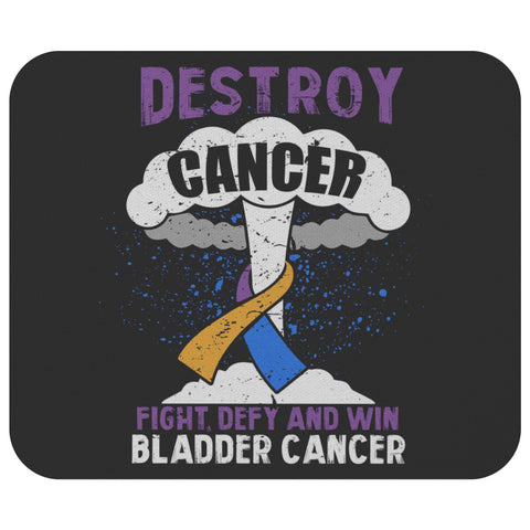 Destroy Cancer Fight Defy & Win Bladder Cancer Awareness Gift Idea Cute Mouse Pad-Mousepads-Black-JoyHip.Com