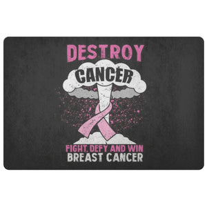 Destroy Cancer Fight Defy Win Breast Cancer Awareness 18X26 Thin Indoor Door Mat-Doormat-Black-JoyHip.Com