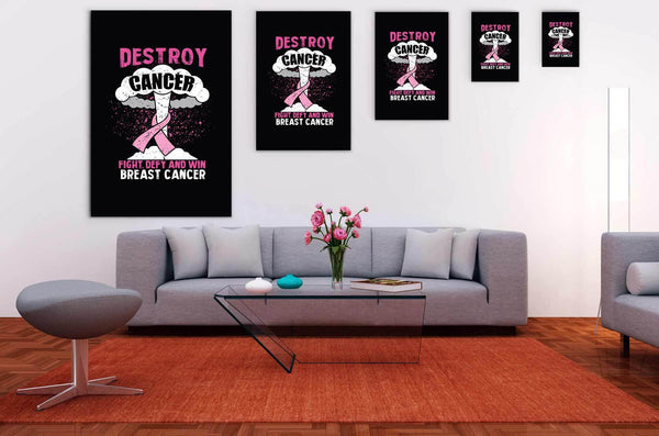 Destroy Cancer Fight Defy & Win Breast Cancer Awareness Canvas Wall Art Decor-Canvas Wall Art 2-JoyHip.Com