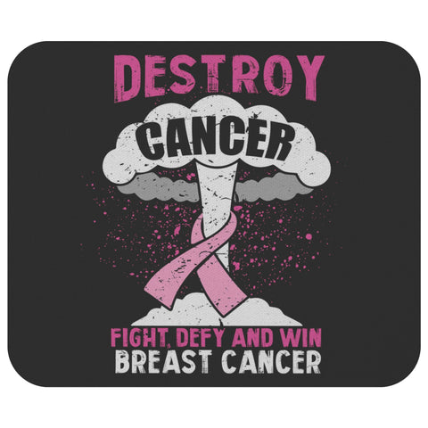 Destroy Cancer Fight Defy & Win Breast Cancer Awareness Gift Idea Cute Mouse Pad-Mousepads-Black-JoyHip.Com