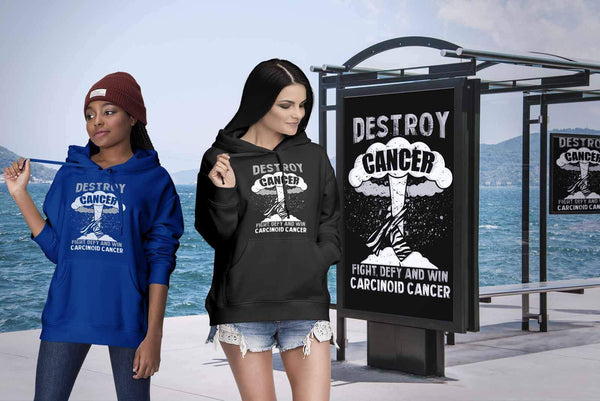 Destroy Cancer Fight Defy Win Carcinoid Cancer Awareness Cool Gift Ideas Hoodie-T-shirt-JoyHip.Com
