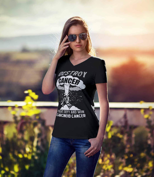 Destroy Cancer Fight Defy Win Carcinoid Cancer Awareness Cool Gift VNeck TShirt-T-shirt-JoyHip.Com