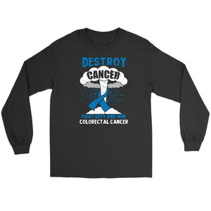 Destroy Cancer Fight Defy Win Colorectal Cancer Awareness Gift Ideas Long Sleeve-T-shirt-Gildan Long Sleeve Tee-Black-JoyHip.Com