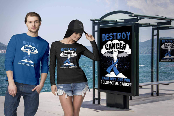 Destroy Cancer Fight Defy Win Colorectal Cancer Awareness Gift Ideas Long Sleeve-T-shirt-JoyHip.Com