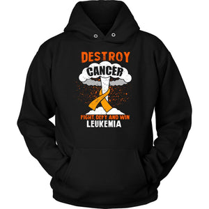 Destroy Cancer Fight Defy Win Leukemia Awareness Cool Unisex Hoodie-T-shirt-Unisex Hoodie-Black-JoyHip.Com